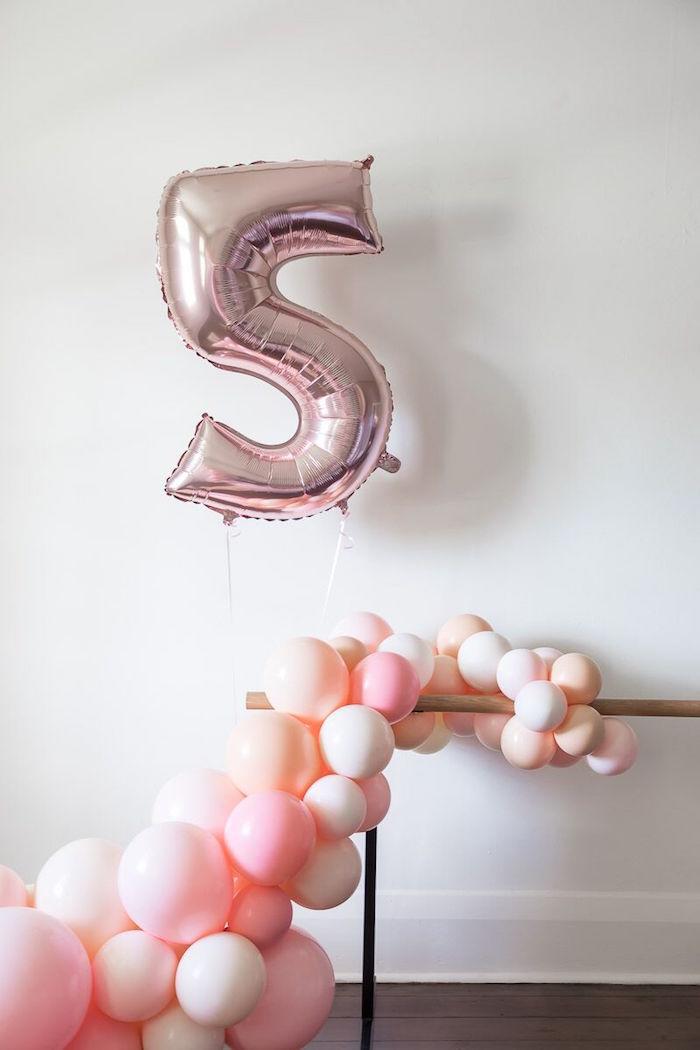 Ballerina Balloon Bar from a Pink + White Ballerina Birthday Party on Kara's Party Ideas | KarasPartyIdeas.com