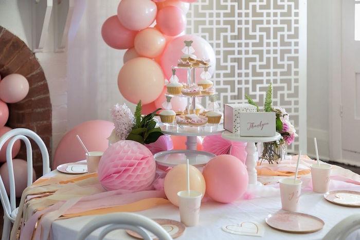 Ballerina Party Tablescape from a Pink + White Ballerina Birthday Party on Kara's Party Ideas | KarasPartyIdeas.com