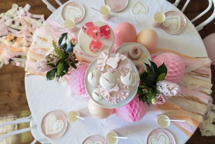 Ballerina Party Tabletop from a Pink + White Ballerina Birthday Party on Kara's Party Ideas | KarasPartyIdeas.com