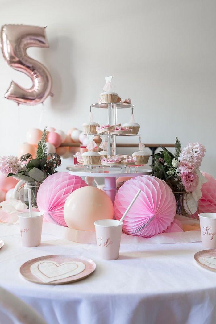 Ballerina Guest Table from a Pink + White Ballerina Birthday Party on Kara's Party Ideas | KarasPartyIdeas.com