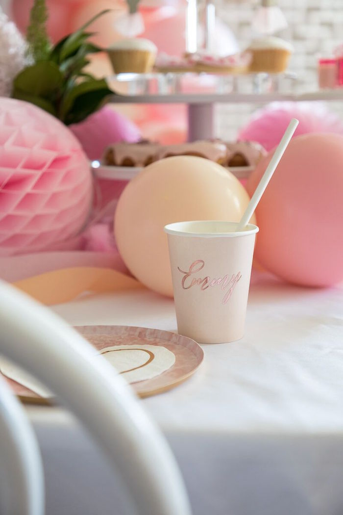 Personalized Paper Cup + Partyware from a Pink + White Ballerina Birthday Party on Kara's Party Ideas | KarasPartyIdeas.com