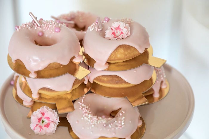Pink Glam Doughnuts from a Pink + White Ballerina Birthday Party on Kara's Party Ideas | KarasPartyIdeas.com