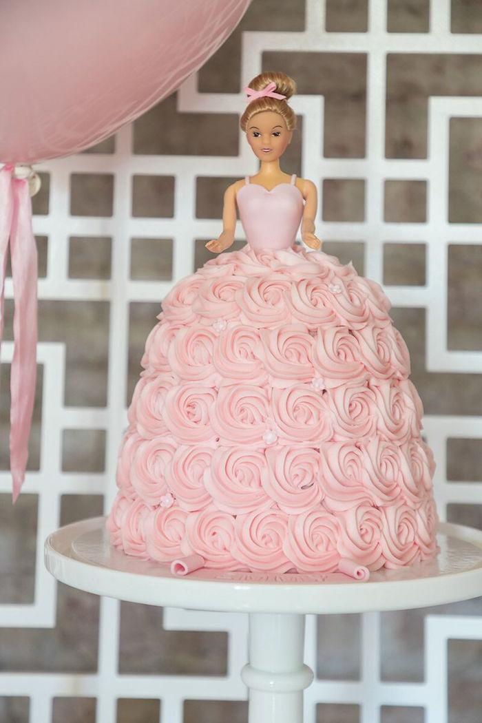 Rosette Ballerina Cake from a Pink + White Ballerina Birthday Party on Kara's Party Ideas | KarasPartyIdeas.com