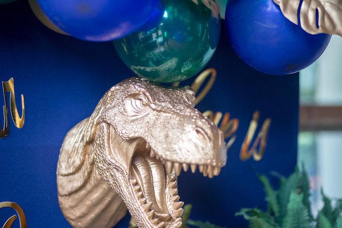 "Gold T-Rex Head-form from a ""Rawr for Love"" Dinosaur Bridal Shower on Kara's Party Ideas | KarasPartyIdeas.com (16)"