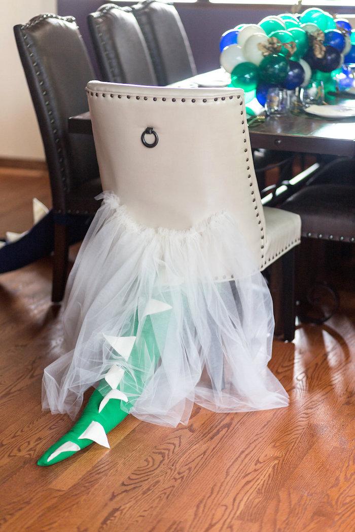 "Dino-tailed Chair from a ""Rawr for Love"" Dinosaur Bridal Shower on Kara's Party Ideas | KarasPartyIdeas.com (15)"