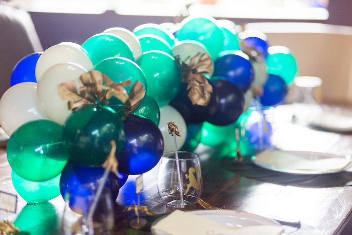 "Dinosaur-inspired Balloon Garland Table Runner from a ""Rawr for Love"" Dinosaur Bridal Shower on Kara's Party Ideas | KarasPartyIdeas.com (12)"