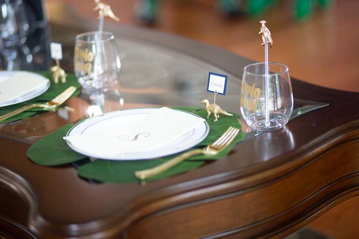 "Dino Party Table Setting from a ""Rawr for Love"" Dinosaur Bridal Shower on Kara's Party Ideas | KarasPartyIdeas.com (11)"
