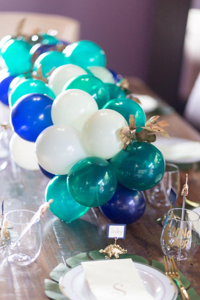 "Dinosaur Balloon Garland Runner from a ""Rawr for Love"" Dinosaur Bridal Shower on Kara's Party Ideas | KarasPartyIdeas.com (9)"