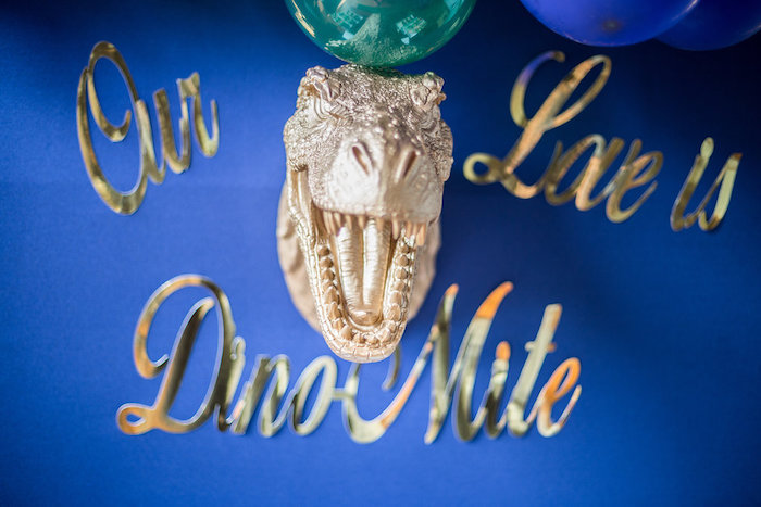 "T-Rex Head Form Backdrop from a ""Rawr for Love"" Dinosaur Bridal Shower on Kara's Party Ideas | KarasPartyIdeas.com (25)"