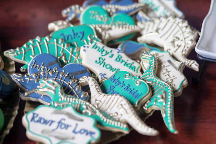 "Dinosaur Fossil Cookies from a ""Rawr for Love"" Dinosaur Bridal Shower on Kara's Party Ideas | KarasPartyIdeas.com (21)"