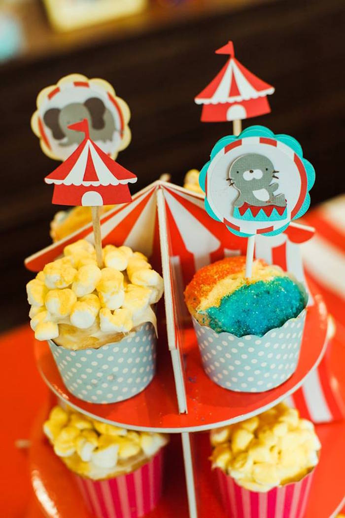 "Circus Cupcakes from ""The Greatest Showman"" Circus Birthday Party on Kara's Party Ideas 