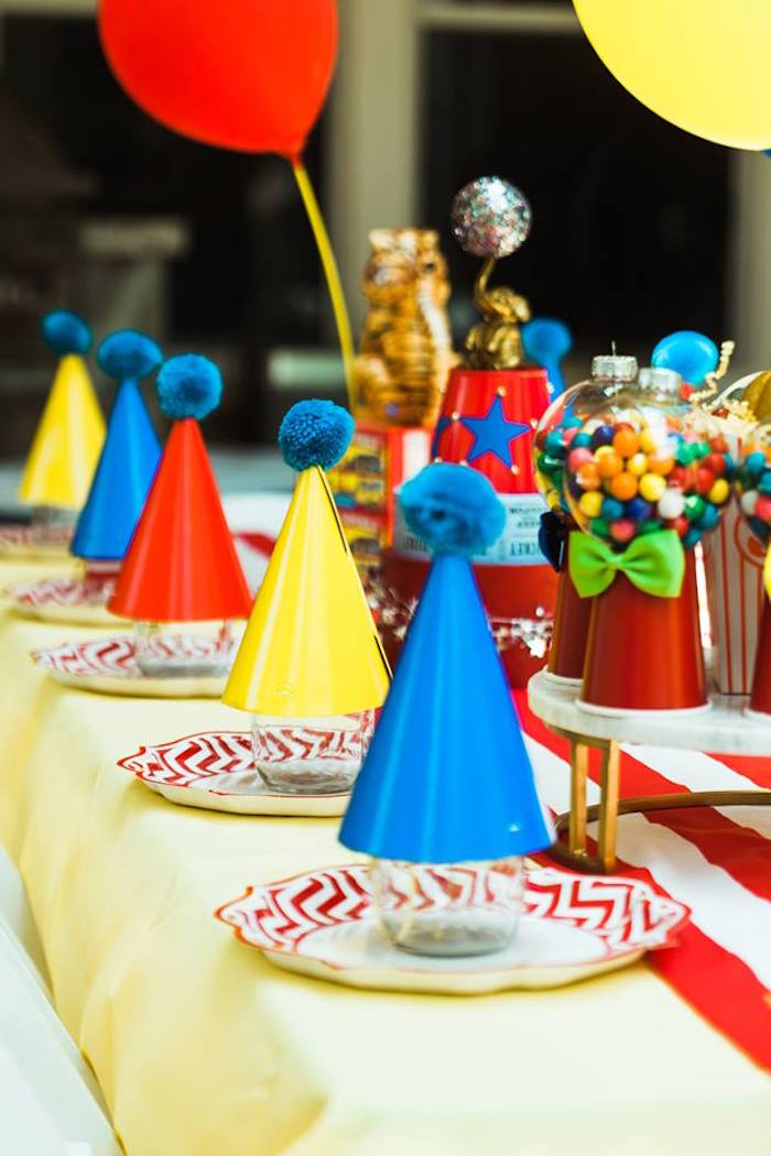 "Circus Party Table Settings from ""The Greatest Showman"" Circus Birthday Party on Kara's Party Ideas 