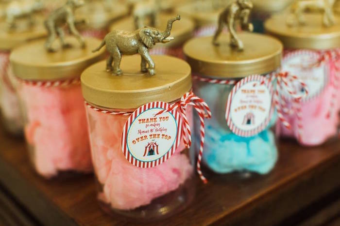 "Cotton Candy Circus Animal Favor Jars from ""The Greatest Showman"" Circus Birthday Party on Kara's Party Ideas 