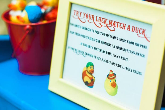 "Duck Game Signage from ""The Greatest Showman"" Circus Birthday Party on Kara's Party Ideas 