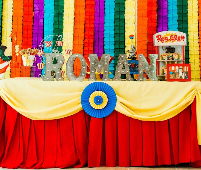 "Circus Themed Party + Dessert Table from ""The Greatest Showman"" Circus Birthday Party on Kara's Party Ideas 