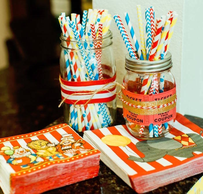 "Circus Partyware + Mason Jar Containers from ""The Greatest Showman"" Circus Birthday Party on Kara's Party Ideas 