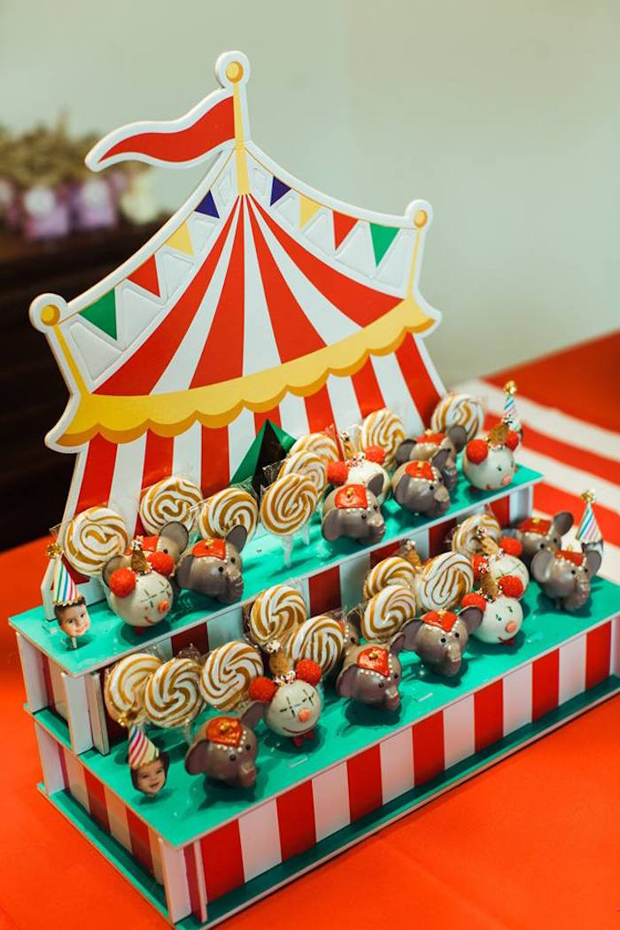 "Circus Tent Dessert Stand from ""The Greatest Showman"" Circus Birthday Party on Kara's Party Ideas 