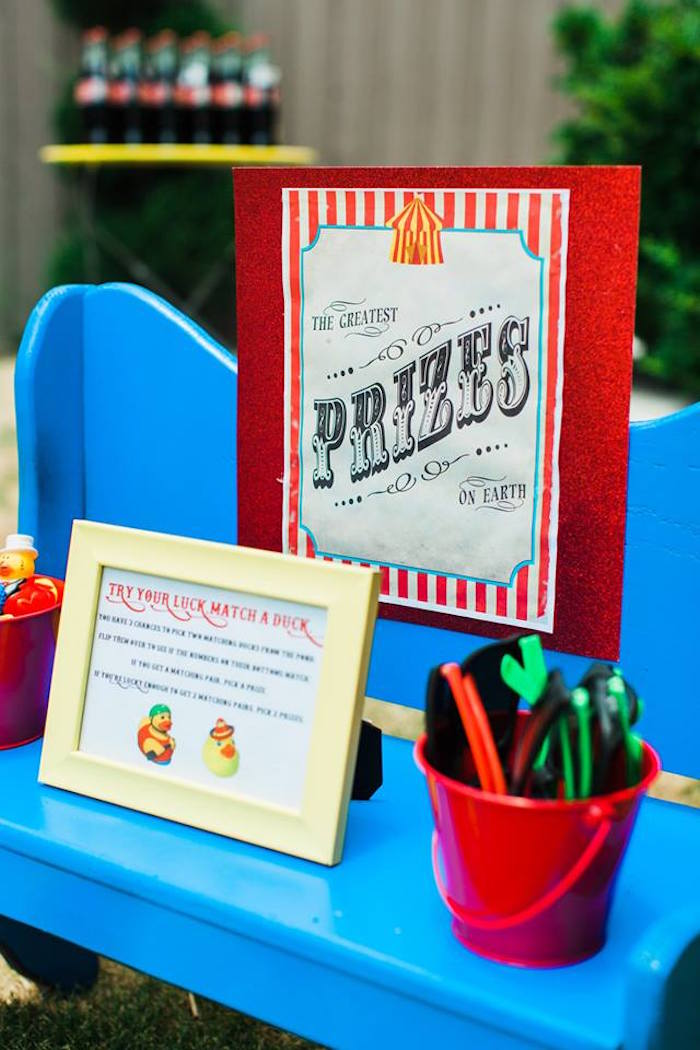 "Prize Stand + Signage from ""The Greatest Showman"" Circus Birthday Party on Kara's Party Ideas 