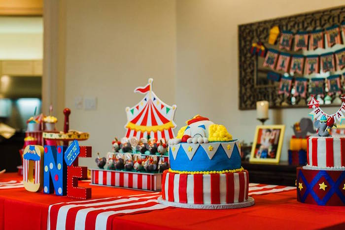 "Cake + Dessert Table from ""The Greatest Showman"" Circus Birthday Party on Kara's Party Ideas 