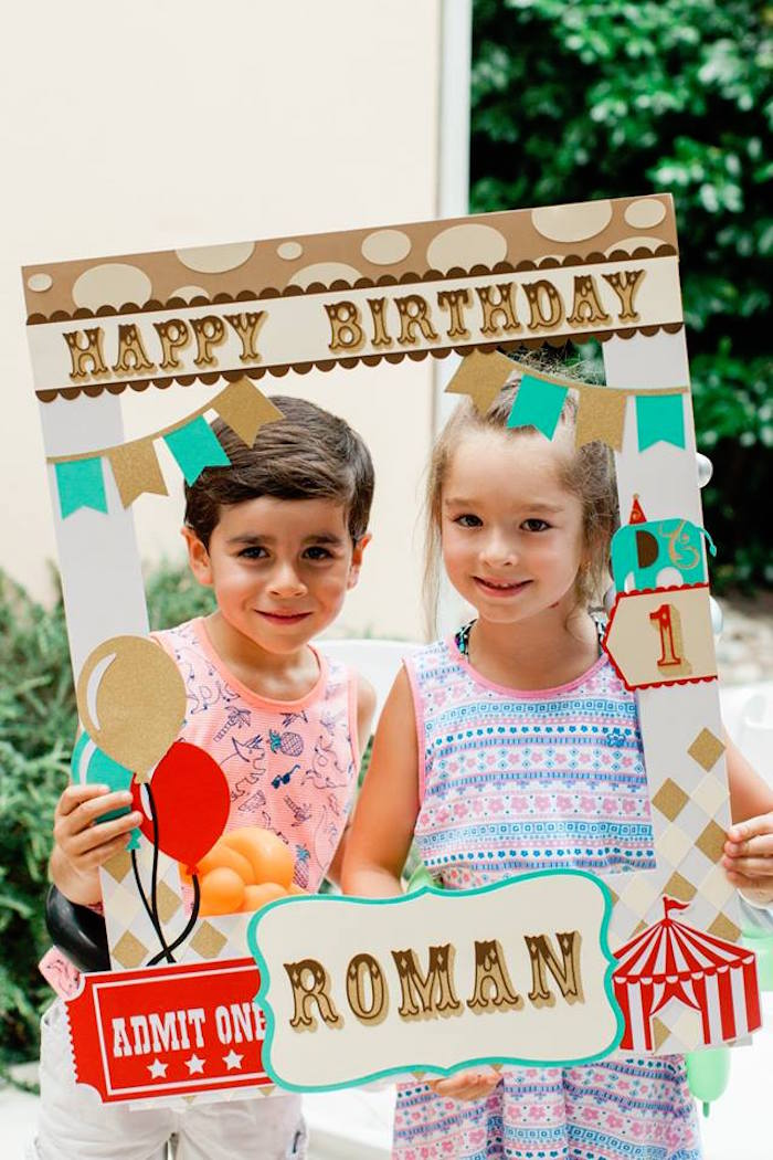 "Photo Booth Frame from ""The Greatest Showman"" Circus Birthday Party on Kara's Party Ideas 