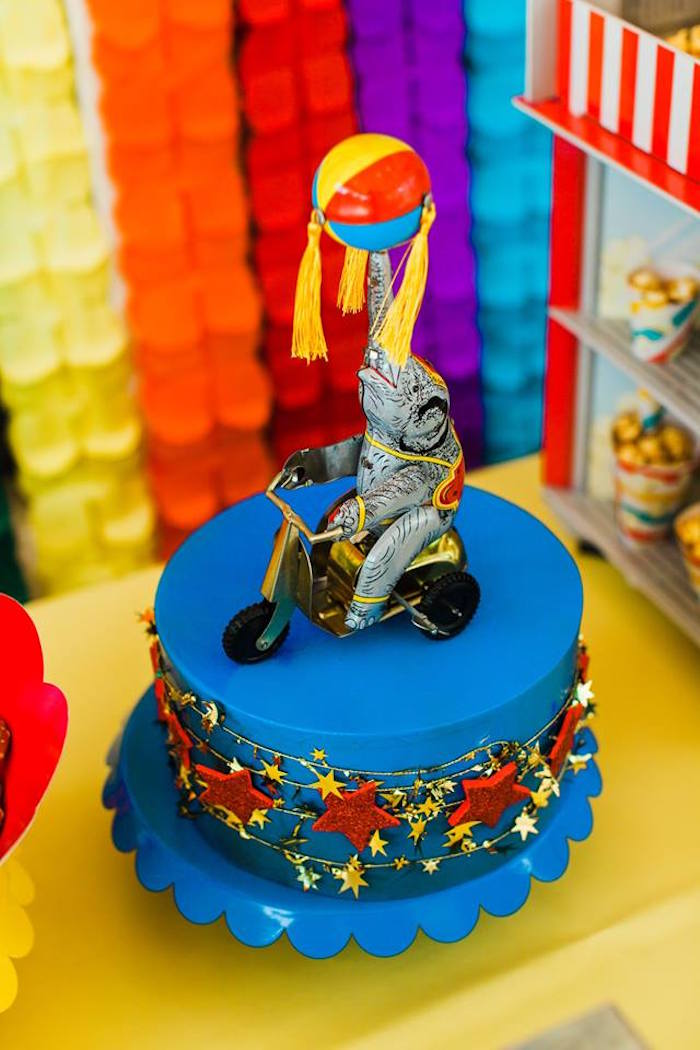 "Circus Elephant Cake from ""The Greatest Showman"" Circus Birthday Party on Kara's Party Ideas 