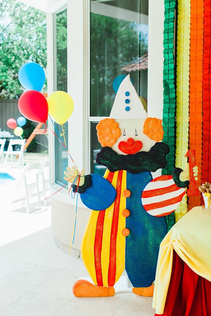 "Clown Standee from ""The Greatest Showman"" Circus Birthday Party on Kara's Party Ideas 