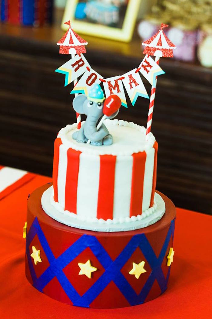 "Circus Cake from ""The Greatest Showman"" Circus Birthday Party on Kara's Party Ideas 