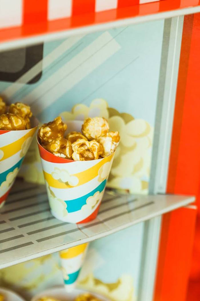 "Carmel Popcorn Cups from ""The Greatest Showman"" Circus Birthday Party on Kara's Party Ideas 