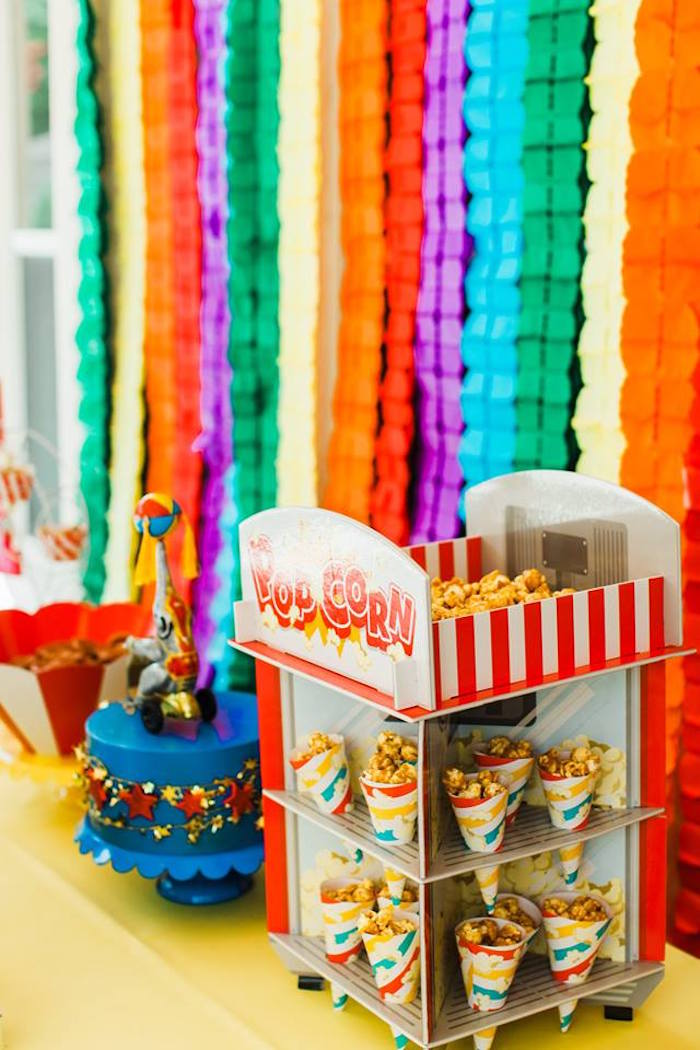 "Popcorn Stand from ""The Greatest Showman"" Circus Birthday Party on Kara's Party Ideas 