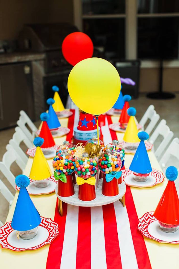 "Circus Party Table from ""The Greatest Showman"" Circus Birthday Party on Kara's Party Ideas 