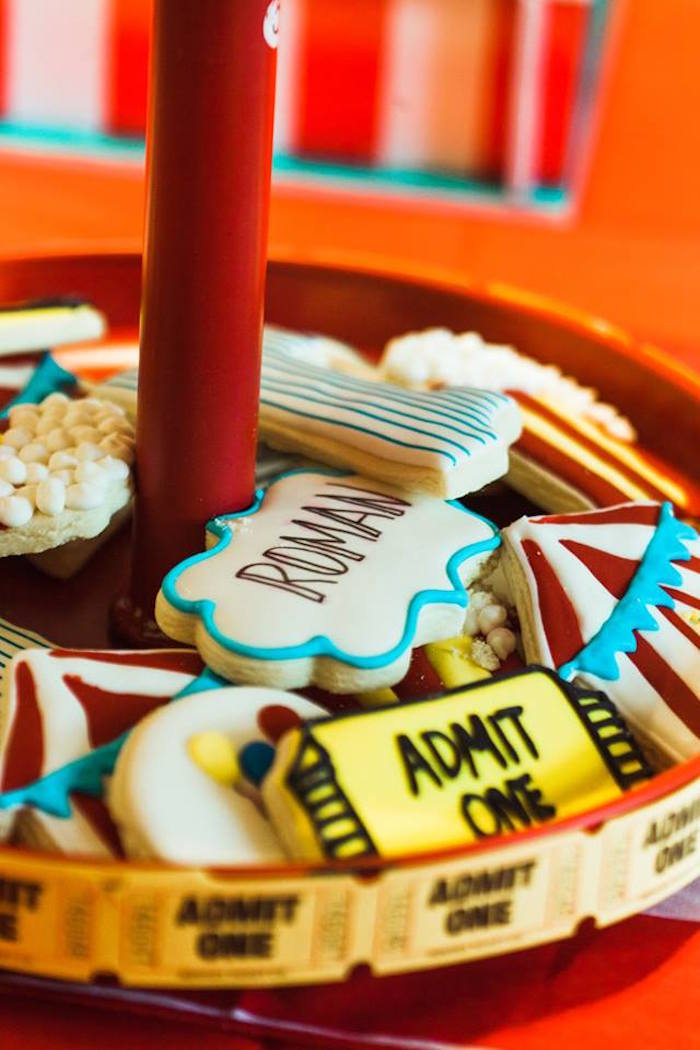 "Circus Theme Sugar Cookies from ""The Greatest Showman"" Circus Birthday Party on Kara's Party Ideas 