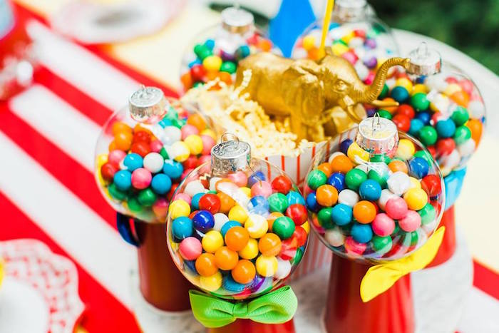"DIY Gumball Machine Favors from ""The Greatest Showman"" Circus Birthday Party on Kara's Party Ideas 