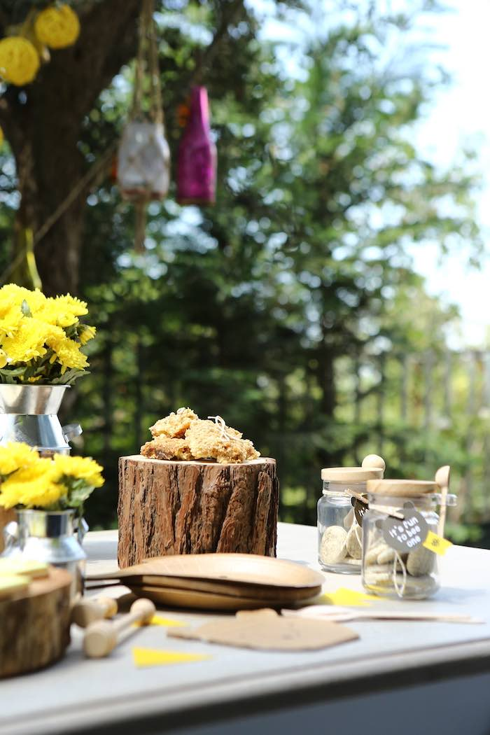 Rustic Sweet Table from a Baby Bear 1st Birthday Party on Kara's Party Ideas | KarasPartyIdeas.com (8)