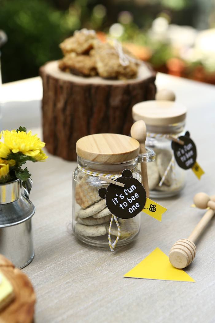 Bear-tagged Favor Jars from a Baby Bear 1st Birthday Party on Kara's Party Ideas | KarasPartyIdeas.com (16)