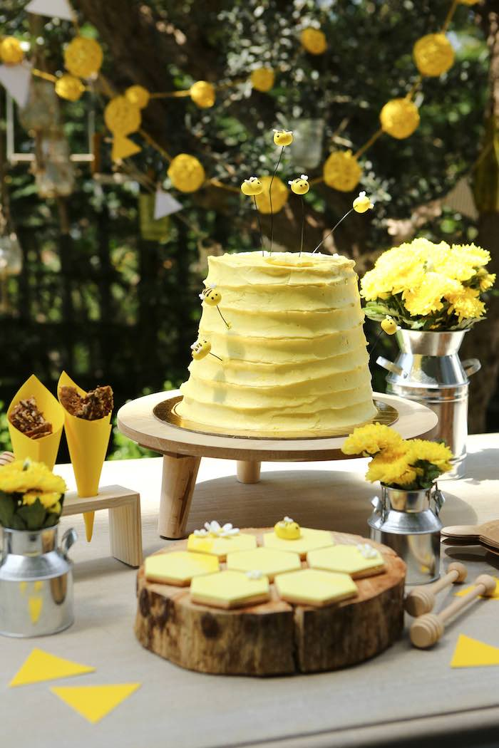Beehive Cake + Cookies from a Baby Bear 1st Birthday Party on Kara's Party Ideas | KarasPartyIdeas.com (14)