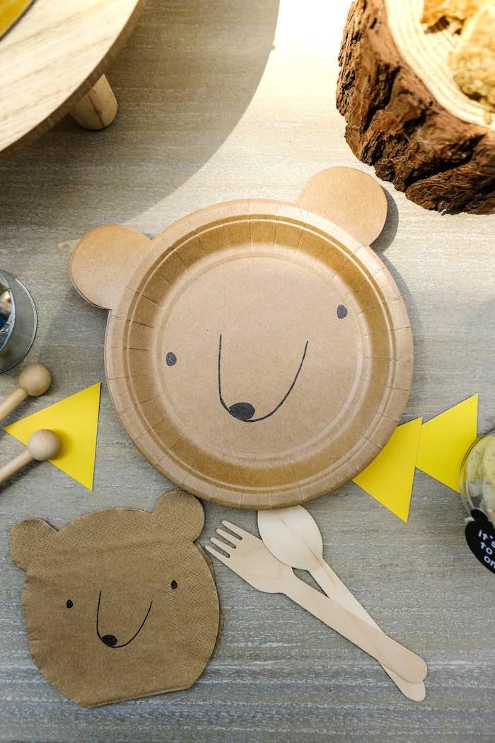 Bear Plate + Napkin Table Setting from a Baby Bear 1st Birthday Party on Kara's Party Ideas | KarasPartyIdeas.com (13)