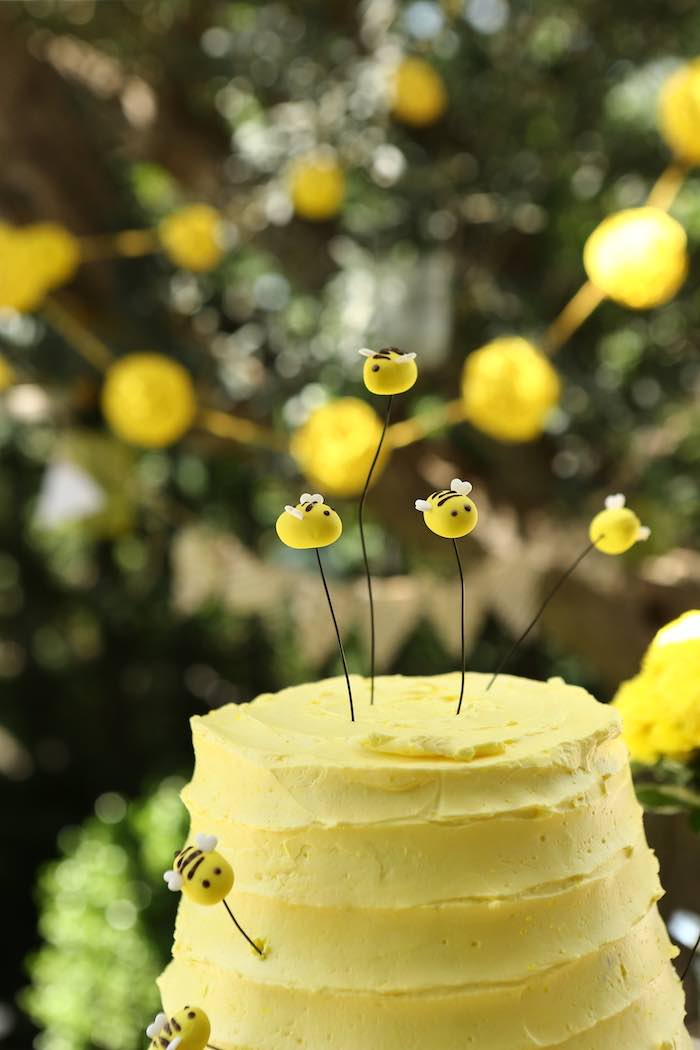 Beehive Cake + Bee Toppers from a Baby Bear 1st Birthday Party on Kara's Party Ideas | KarasPartyIdeas.com (12)