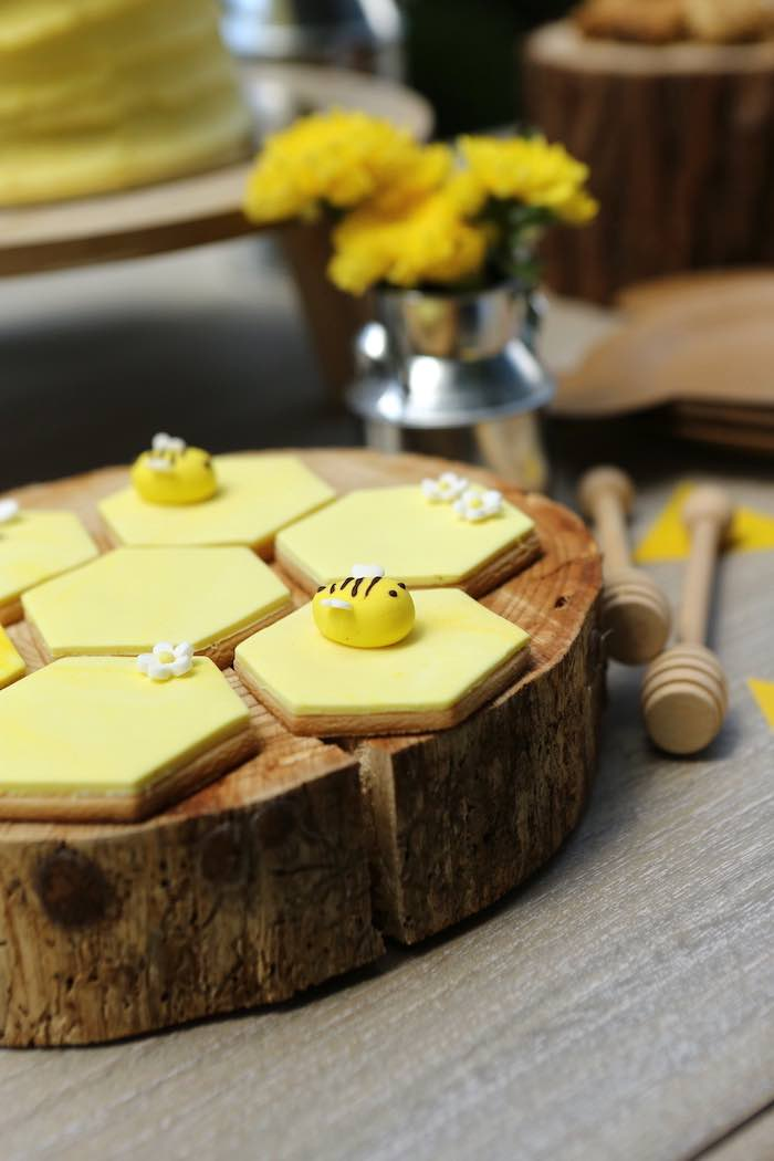 Beehive Cookies from a Baby Bear 1st Birthday Party on Kara's Party Ideas | KarasPartyIdeas.com (11)