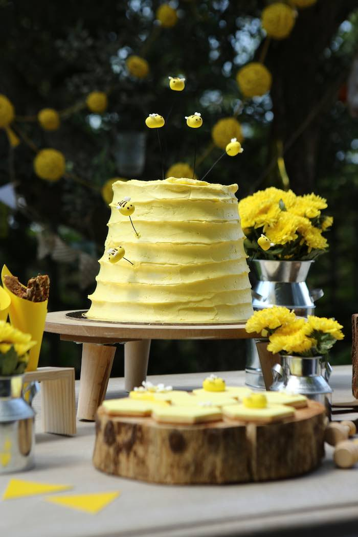 Beehive Cake from a Baby Bear 1st Birthday Party on Kara's Party Ideas | KarasPartyIdeas.com (10)