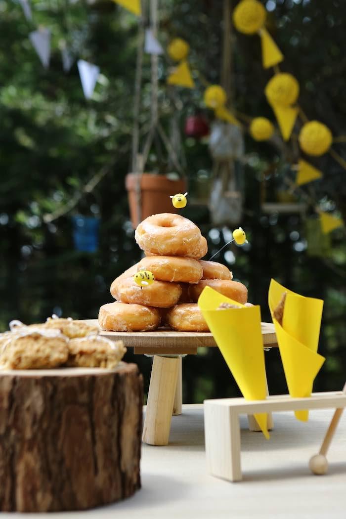 Doughnuts & Bees from a Baby Bear 1st Birthday Party on Kara's Party Ideas | KarasPartyIdeas.com (9)