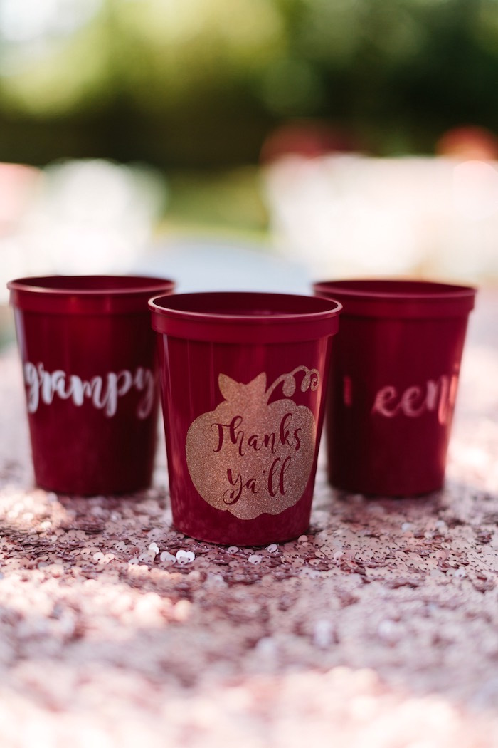 Glam Pumpkin Cups from a Burgundy & Blush Little Pumpkin Birthday Party on Kara's Party Ideas | KarasPartyIdeas.com (16)