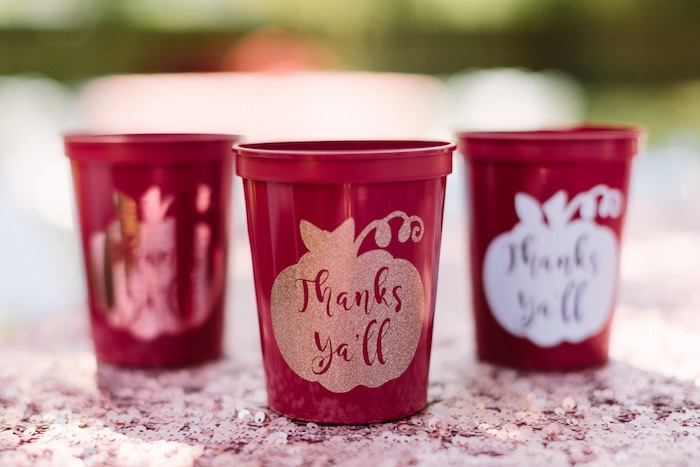 Glam Pumpkin Cups from a Burgundy & Blush Little Pumpkin Birthday Party on Kara's Party Ideas | KarasPartyIdeas.com (15)