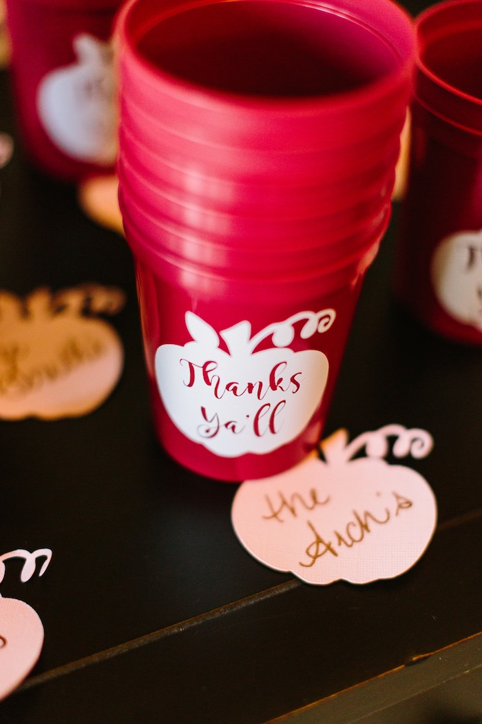 Cups & Pumpkin Notecards from a Burgundy & Blush Little Pumpkin Birthday Party on Kara's Party Ideas | KarasPartyIdeas.com (13)