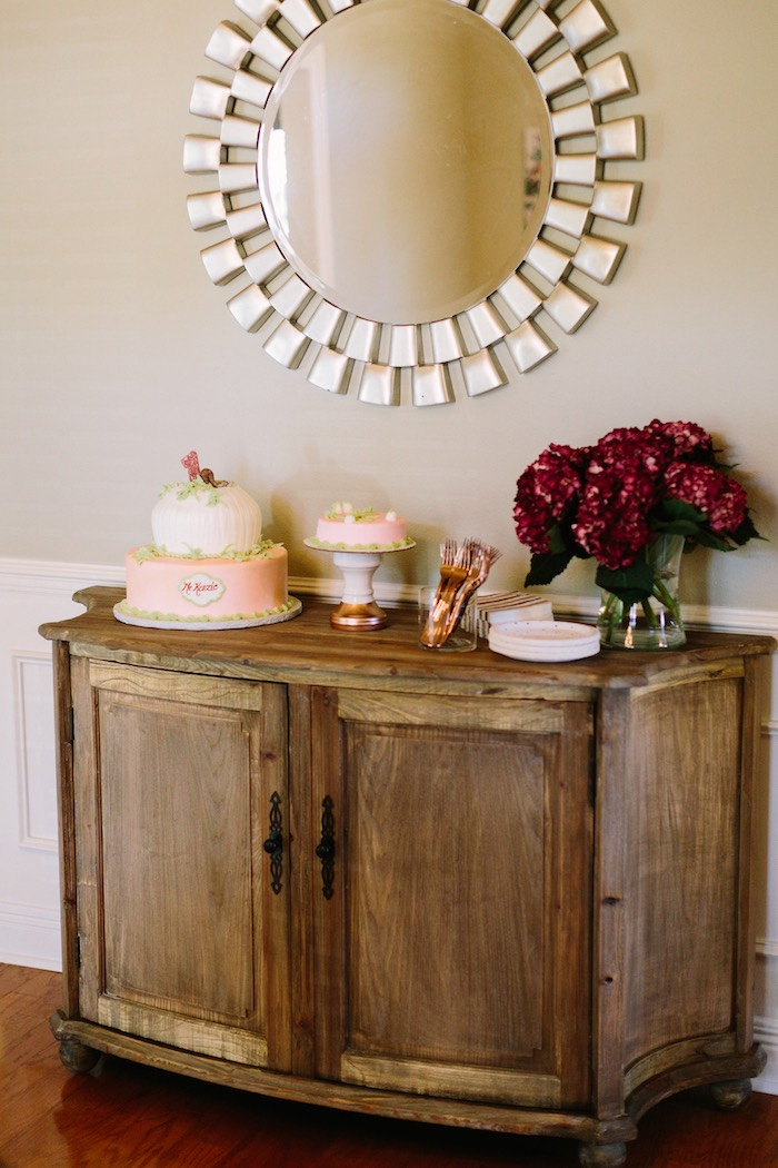 Cake Table from a Burgundy & Blush Little Pumpkin Birthday Party on Kara's Party Ideas | KarasPartyIdeas.com (12)