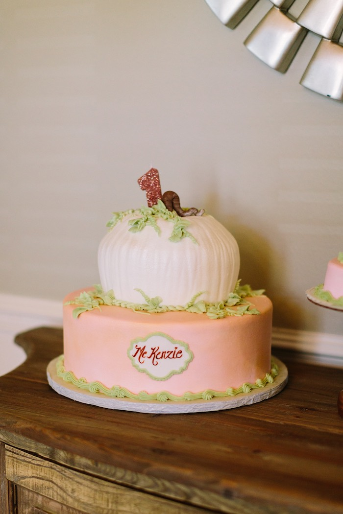 Pumpkin Cake from a Burgundy & Blush Little Pumpkin Birthday Party on Kara's Party Ideas | KarasPartyIdeas.com (11)