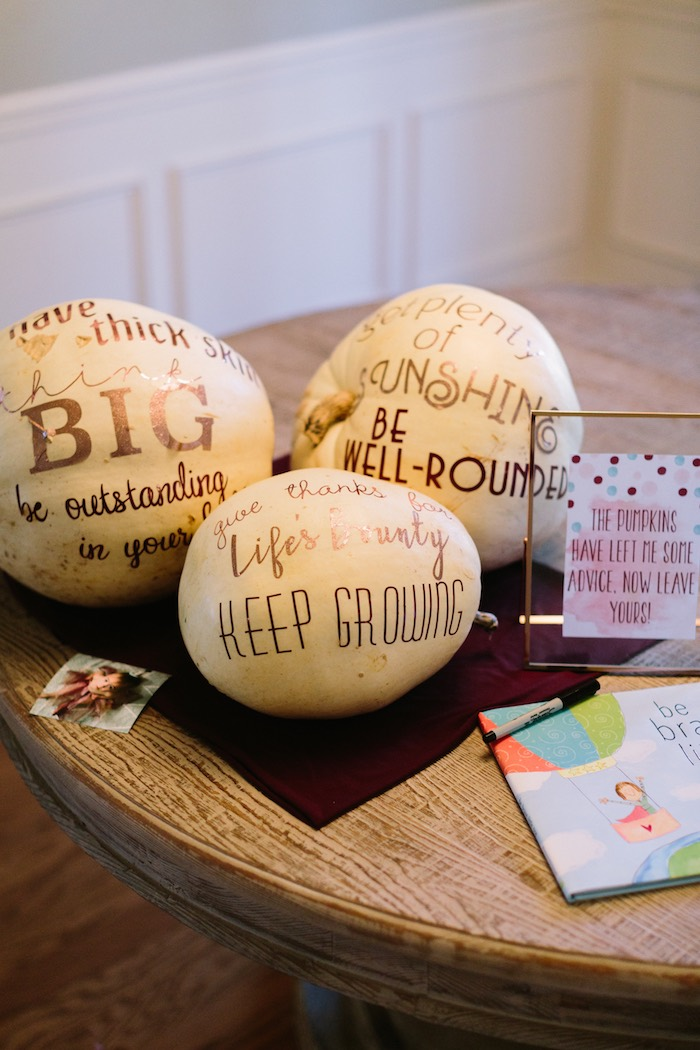 Advice Pumpkins from a Burgundy & Blush Little Pumpkin Birthday Party on Kara's Party Ideas | KarasPartyIdeas.com (9)