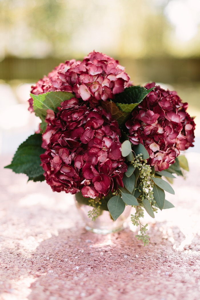 Burgundy Hydrangea Centerpiece from a Burgundy & Blush Little Pumpkin Birthday Party on Kara's Party Ideas | KarasPartyIdeas.com (7)
