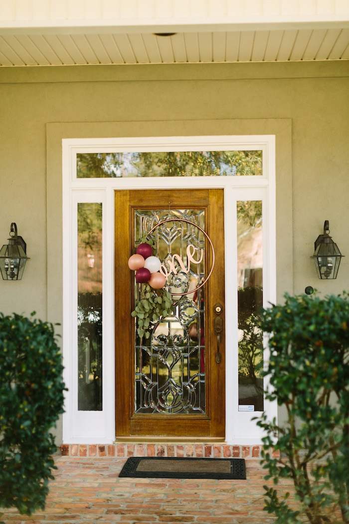 Entrance + Gold Hoop Balloon Wreath from a Burgundy & Blush Little Pumpkin Birthday Party on Kara's Party Ideas | KarasPartyIdeas.com (6)