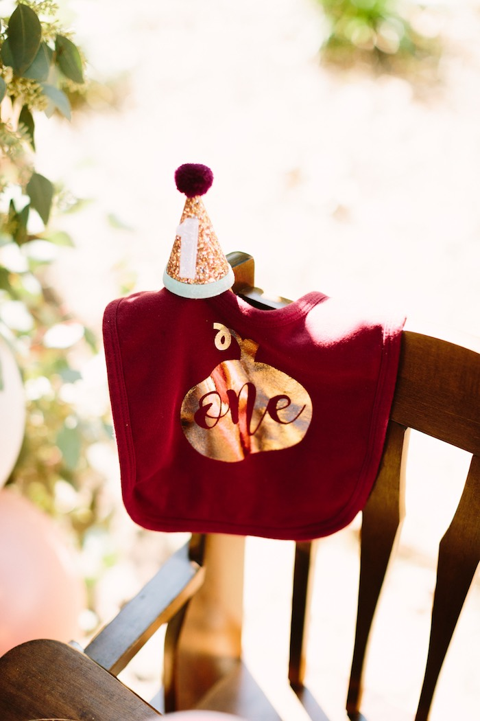 Burgundy Glam Bib and Party Hat from a Burgundy & Blush Little Pumpkin Birthday Party on Kara's Party Ideas | KarasPartyIdeas.com (24)