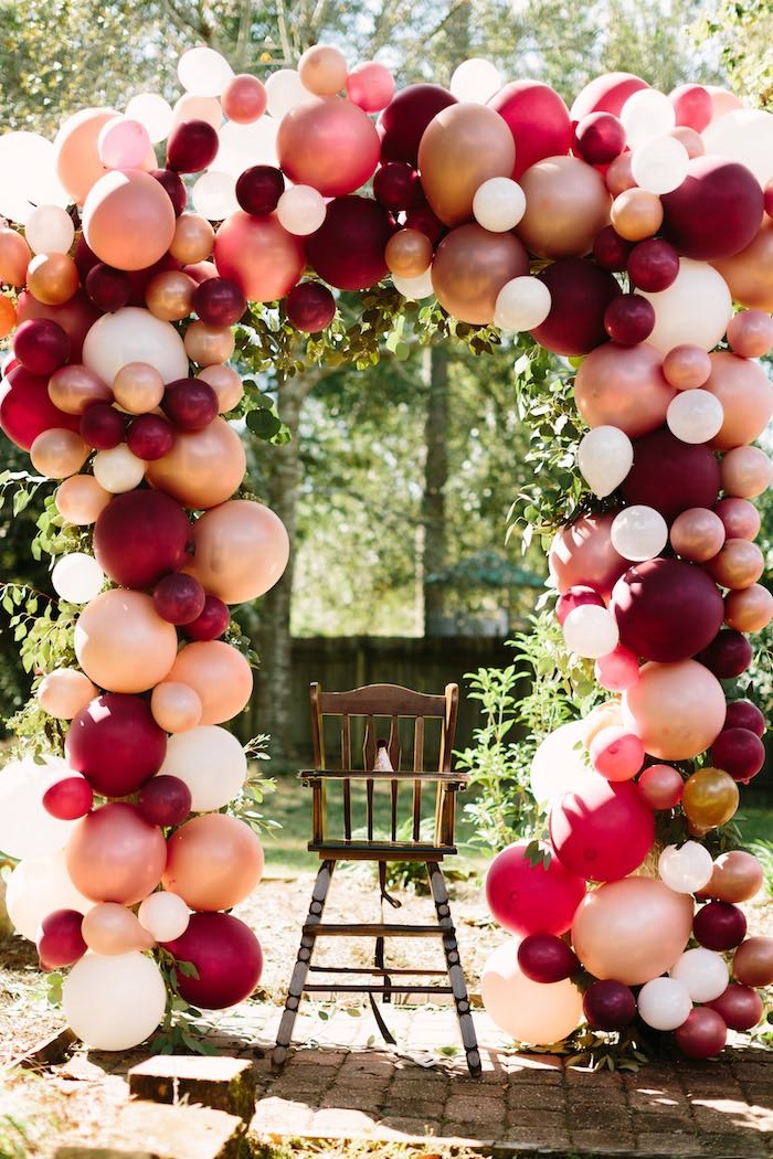 Highchair Balloon Arch from a Burgundy & Blush Little Pumpkin Birthday Party on Kara's Party Ideas | KarasPartyIdeas.com (23)